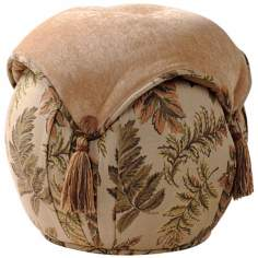 Woodland Round Leaf and Tan Button Tassel Ottoman