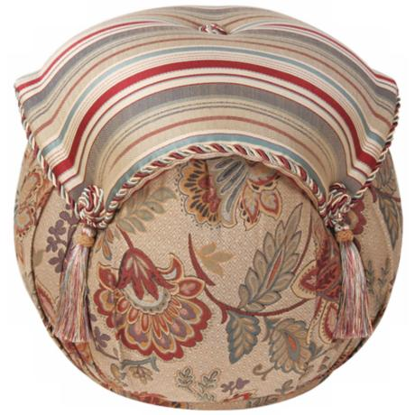 Dempsey Striped and Floral Tassel Ottoman