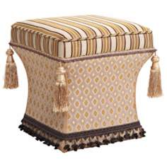 Valenciaga Stripes and Tassels Pedestal Ottoman