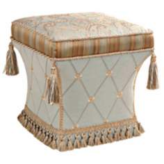 Savannah Paisley and Tassels Pedestal Ottoman