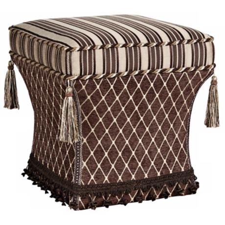Broderick Stripe and Diamond Tassel Pedestal Ottoman