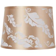 Beige Leaf Print Drum Shade 13x15x11 (Spider)