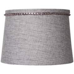 Gray Tweed Pleated Trim Drum Shade 12x14x10 (Spider)