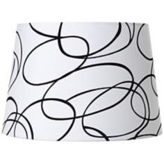 Black Squiggle White Drum Shade 13x16x11 (Spider)