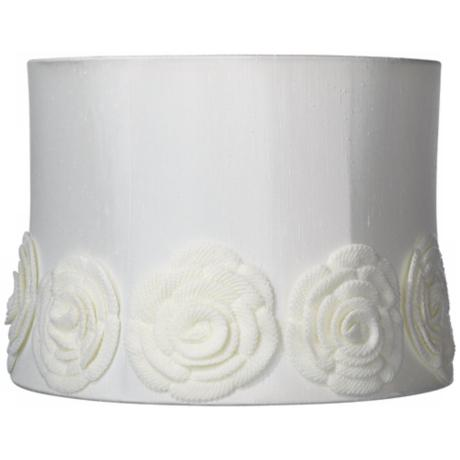 Creme Crochet Flower Drum Shade 13x14x10 (Spider)