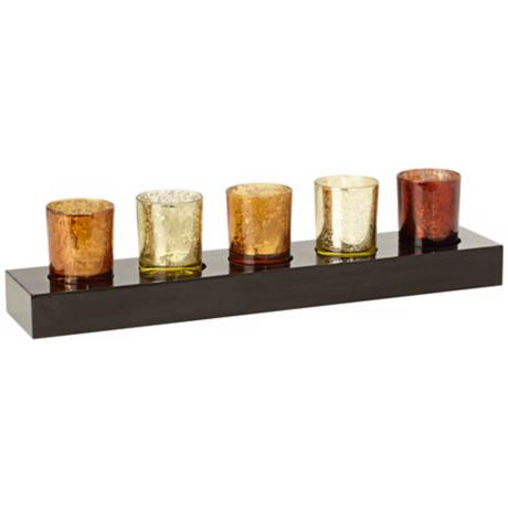Assorted Metallic Glass 5-Votive Holder