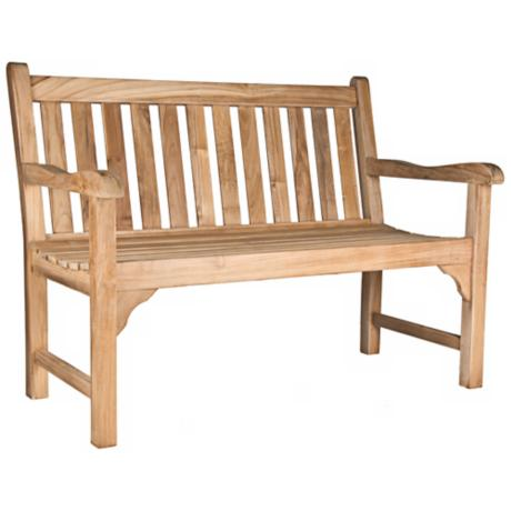 London Teak Wood 4 Foot Wide Outdoor Bench
