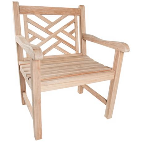 Chippendale Teak Wood Outdoor Armchair