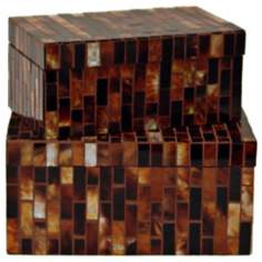 Set of 2 Amber Tortoiseshell Mosaic Boxes