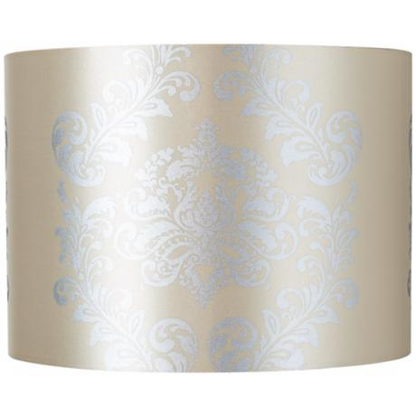 Yellow with Silver Crest Drum Lamp Shade 15x15x11 (Spider)