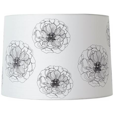 Black Flower Pattern Creme Drum Lamp Shade 15x16x11 (Spider)