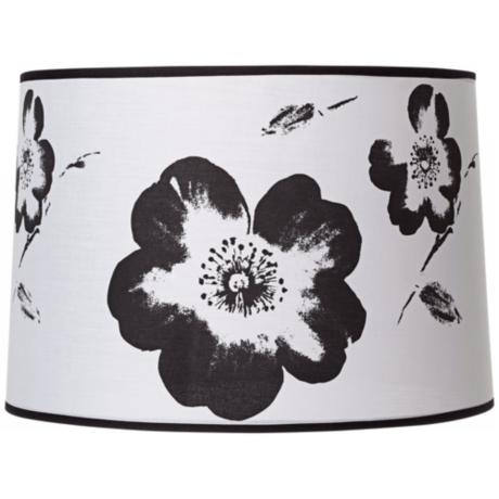 White and Black Flower Graphic Drum Shade 15x16x11 (Spider)
