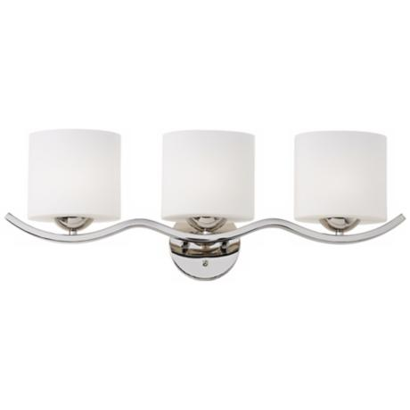 "Wave Collection 27"" Wide Polished Nickel Bathroom Light"
