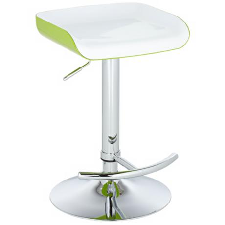 Shift White and Apple Green Adjustable Bar or Counter Stool