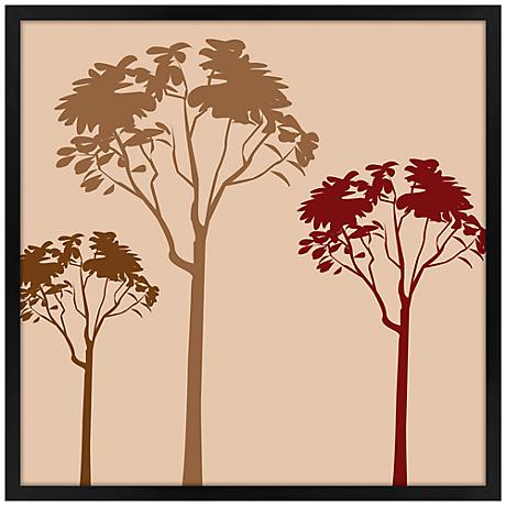 "Forest Trio Sunset 26"" Square Black Giclee Wall Art"