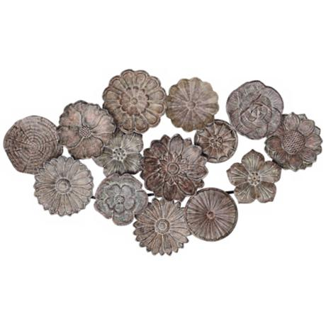 "Matte Bronze Metal 35"" Wide Flower Wall Art"