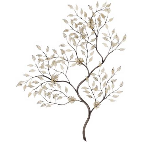 "Silver and Gold Leaves Branch 34"" High Wall Art"