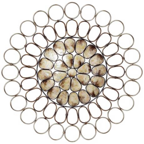 "Bronze and Champagne Silver Capiz Shell 35"" Wide Wall Art"