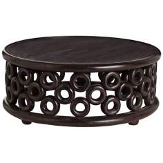 Arteriors Home Karmal Circles Handcarved Wood Cocktail Table