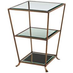 Arteriors Home Nick Iron/Glass Tri-Level Mirror Side Table