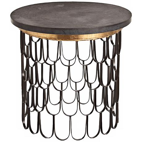 Arteriors Home Orleans Iron Honed Black Marble End Table