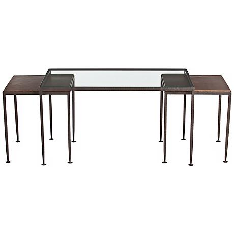 Arteriors Home Set of 3 Knight Iron and Glass Nesting Tables