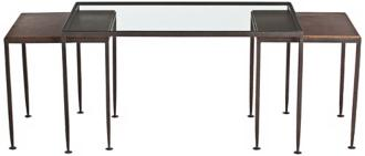 Arteriors Home Set of 3 Knight Iron and Glass Nesting Tables (U2295)