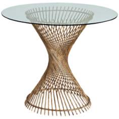 Arteriors Pasal Twisted Gold Leaf Iron/Glass Entry Table