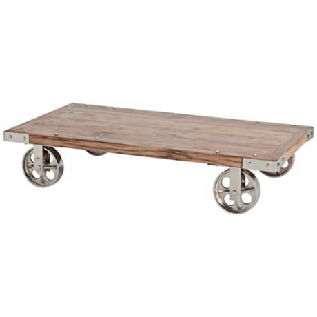 Arteriors Norwood 4-Wheel Recycled Wood/Iron Coffee Table