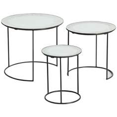 Arteriors Home Set of 3 Osmond Iron/Mirror Nesting Tables