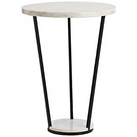 Arteriors Home Petra White Marble Black Iron Side Table