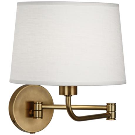 robert abbey koleman brass plug in swing arm wall lamp. Black Bedroom Furniture Sets. Home Design Ideas