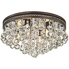 "Regina Bronze 16"" Wide Crystal Ceiling Light"