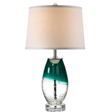 Kathy Ireland Blue-Clear Glass Vase Table Lamp