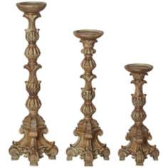 Set of 3 Exotic Carved Pillar Candle Holders