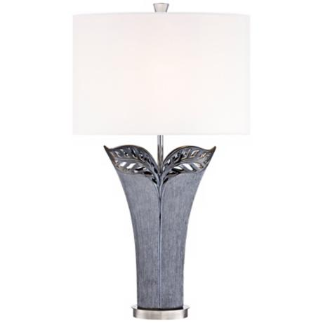 Kathy Ireland Makena Grey Ceramic Table Lamp