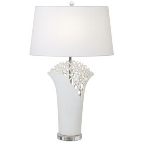 Possini Euro White Coral Oval Shade Table Lamp