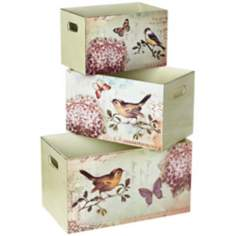 Set of 3 Bird Design Decorative Storage Boxes