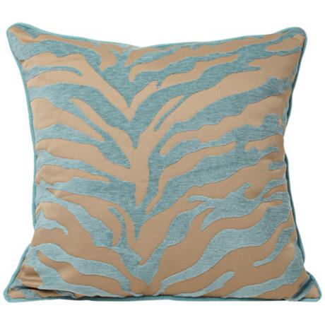 "Teal and Beige Tiger Pattern 18"" Decorative Surya Pillow"