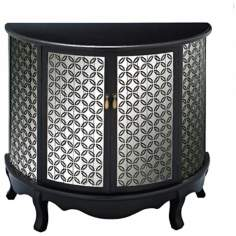 Black and Mirrored Demilune Console Table