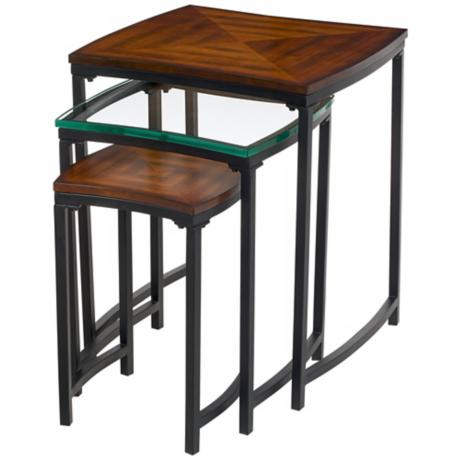 Set of 3 Phinney Dark Cherry Wood Nesting Tables