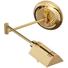 Polished Brass Finish Halogen Pharmacy Swing Arm Wall Light