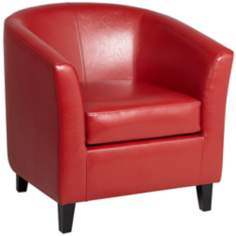 Melrose Red Recast Leather Tub Chair