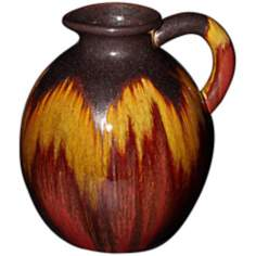 "Red Canyon 11 3/4"" High Glazed Ceramic Pitcher Vase"