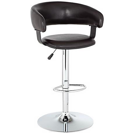 Aria Espresso Black and Chrome Adjustable Bar-Counter Stool