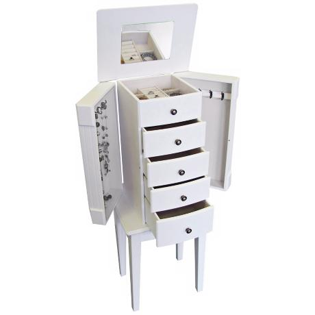 Mele & Co. Addison White Armoire Jewelry Box