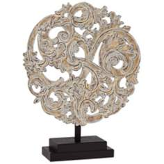 Antiqued Silver Round Filigree on Stand