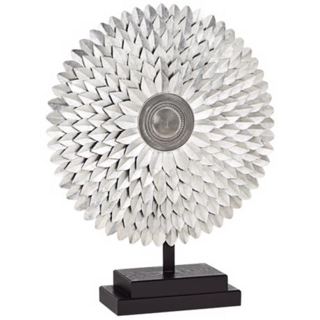 Round Silver Sunburst on Stand