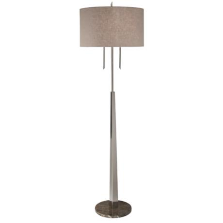 Thumprints Tiger's Eye Brushed Chrome Floor Lamp