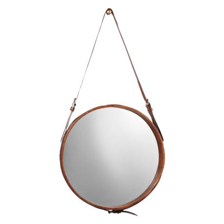 "Jamie Young Leather Strap 29"" High Round Wall Mirror"